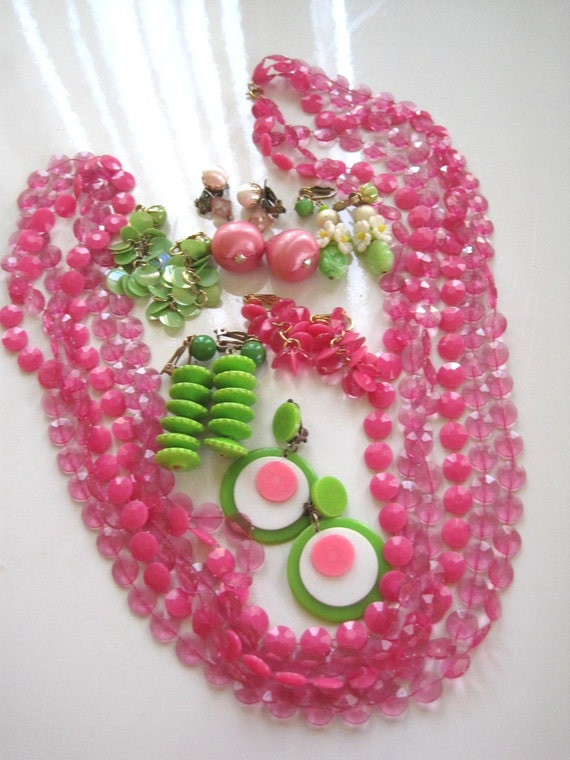 Vintage 1960's Mod Costume Jewelry Lot Groovy plastic jewelry mod jewelry costume jewelry lot vintage mod earrings hot pink green
