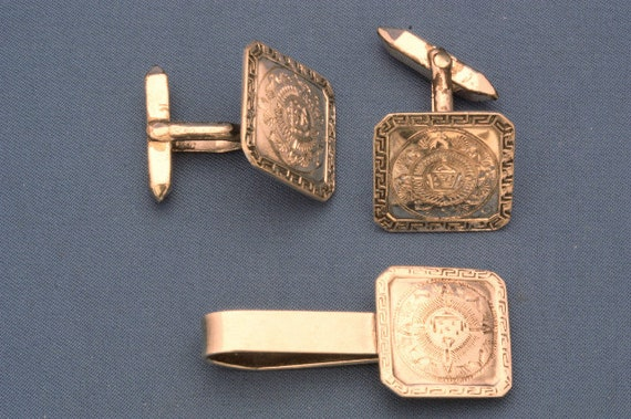 Vintage Aztec Cufflinks and Tie Clip Sterling Silver
