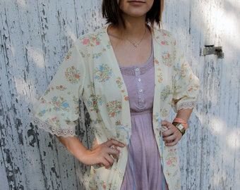Vintage Floral Nightgown/ Nightie/ Cardigan/ Blouse with Lace Trimmed Sleeves and Bottom Detail and Ribbon Tie
