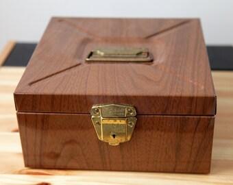 Vintage Brown Faux Wood Porta File Filebox or Storage Box Retro Office circa 1960s