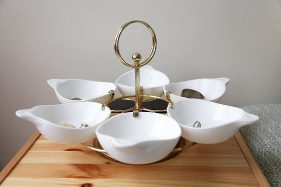 Vintage Mid Century Modern Serving Lazy Susan with 6 Bowls 1950s