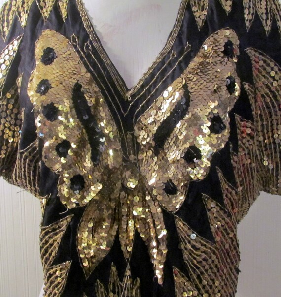 Fantastic 1970's Silk Sequin Butterfly Top