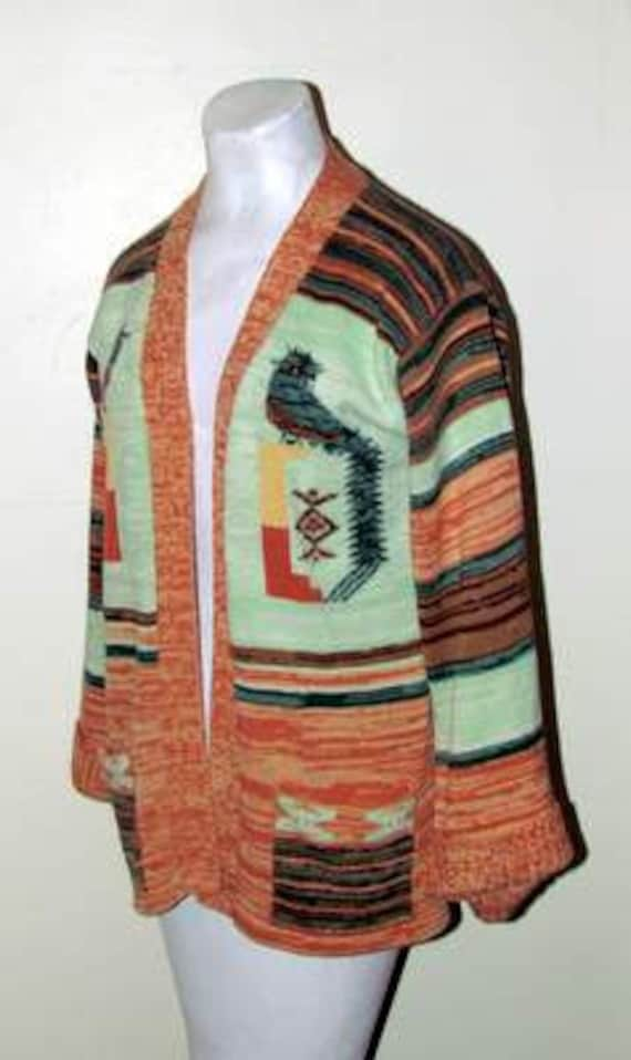 Awesome Vintage Acrylic BELL SLEEVE Bird CARDIGAN