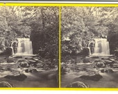 """Stereograph. """"Lynmouth - the Upper Fall above Watersmeet,"""" Devonshire Illustrated Series, by Francis Bedford, ca. 1867."""
