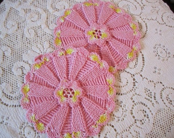 Vintage Pink Crochet pot holders set of 2 crocheted with yellow trim handmade potholders