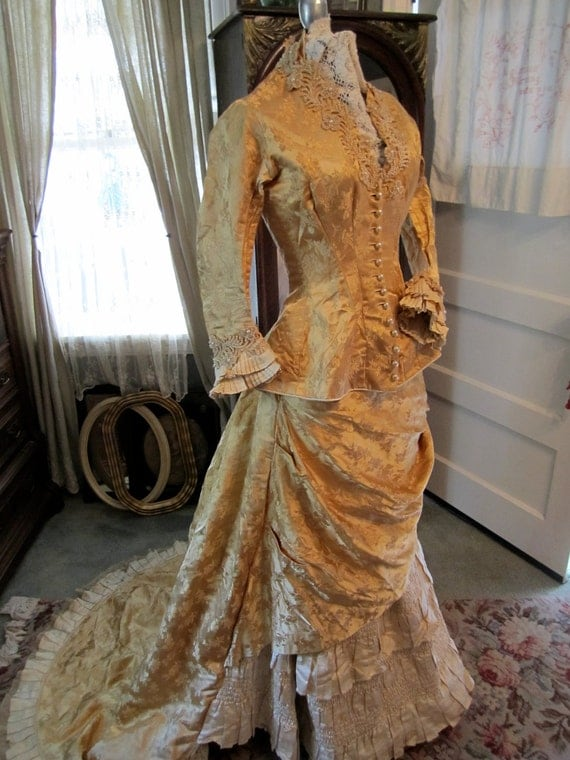 Antique Victorian Silk Brocade Wedding or Fancy Dress with Train
