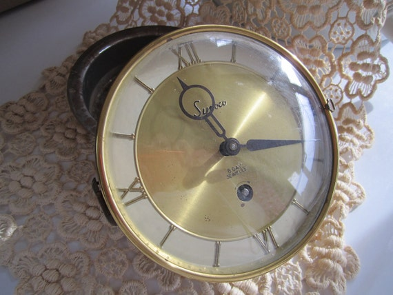 Vintage Clock for Parts and Case 70s  Assemblage supply supplies