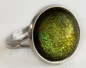 Zombie Ring in Silver - Olive Moss Green Glitter Cocktail Ring