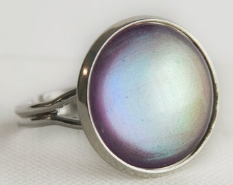 Silver Lining Ring in Silver - SIlver, Purple, Blue Colour Shifting Cocktail Ring