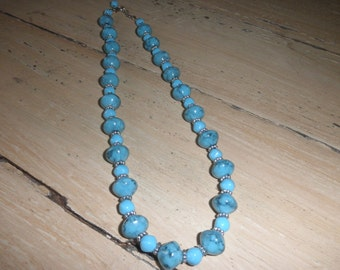 turquoise colored beaded necklace