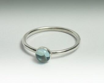 Blue Topaz Ring - Stackable Sterling Silver Sky Blue Topaz Ring