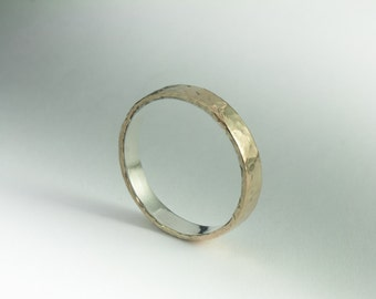 Gold and Silver Ring, 9K Solid Gold and Sterling Silver Ring, Unique Wedding Ring, Unique Wedding Band, Silver and Gold Ring, Mixed Metal
