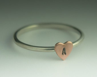 Personalized Heart Ring  - Sterling Silver and a Copper Heart ring with your choice of Initial