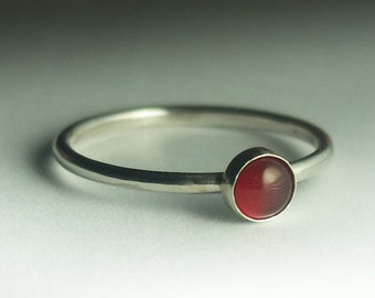 Agate Ring, Red Agate Ring, Stackable Sterling Silver Red Agate Ring, Agate Stacking Ring, Red Stone Ring, Round Agate Ring, Silver Ring