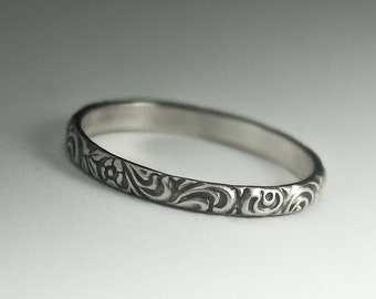 Silver Pattern Ring, Vintage Style Band, Floral Pattern Ring, Dainty Pattern Ring, Sterling Silver Pattern Ring, Handmade Ring, Floral Band