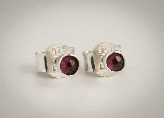 Garnet Post Earrings -  rose cut Garnet Sterling Silver Post Earrings