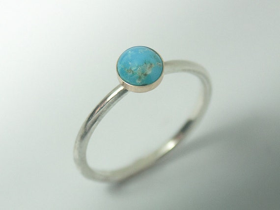 Persian Turquoise ring - Stackable Sterling Silver Persian Turquoise ring