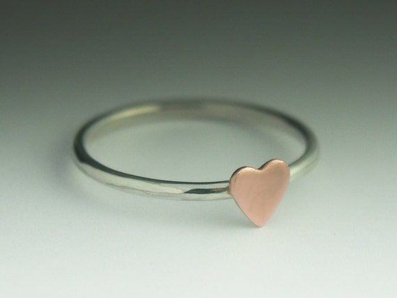Heart Ring  - Sterling Silver and a Copper Heart ring
