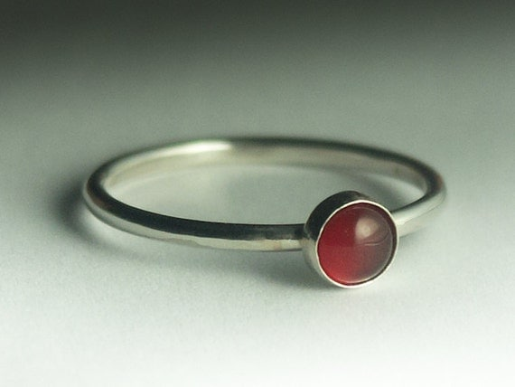 Agate Ring - Stackable Sterling Silver Red Agate Ring