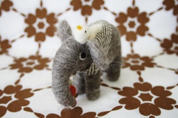 Hand felted British wool elephant- Dark grey