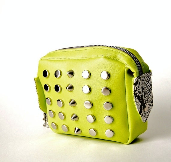 Laney Lime Green  Studded Pouch