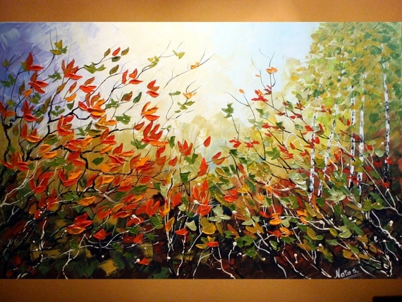 "Original Contemporary Large Art Painting.Palette Knife.Home Decor.Art Deco.Landscape .Forest.Autumn.36""Ready to hang - by Nata S."