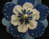 Bright Blue, White, and Pale Blue Beaded Flower Hair Clip or Headband