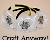 CUSTOM ORDER: White Satin Flower Headbands in Apple Green and Navy Blue with Crystal Button Centers