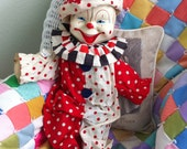 Vintage Clown Doll, Gunde,  Crank, Red & Whitle,  Polka Dots Photo Prop