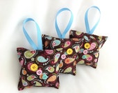 Baby Nursery Sachets,  Paisley,  Linens, Closet, Drawer bags, Blue,  Baby Powder Scent  ( 3 )