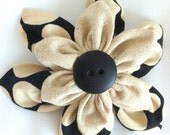 Fabric Flower Hair Clip, Fashion Accessory Pin,  Black, Khaki,  Polka Dots w/ Big  Black Button
