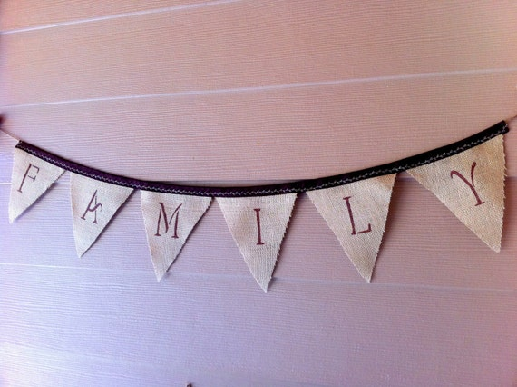 Burlap Garland, Family , Autumn, Decorative Bunting,  Photo Prop Holiday Gift