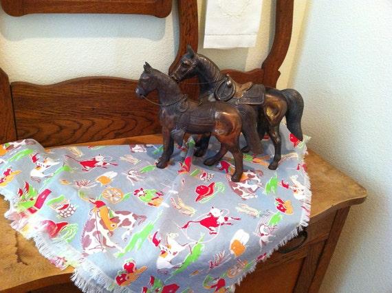 Vintage Fabric  Western Farmhouse Horses  Antique 1950s