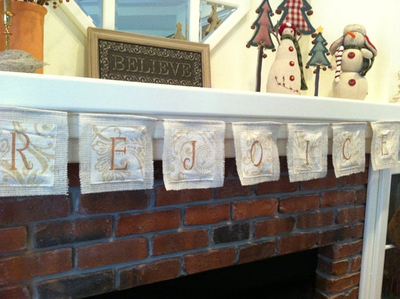 Christmas Garland, REJOICE,  OOAK, Celebration , Banner,  Rustic, Fall , Winter,  Holiday, Home Decor