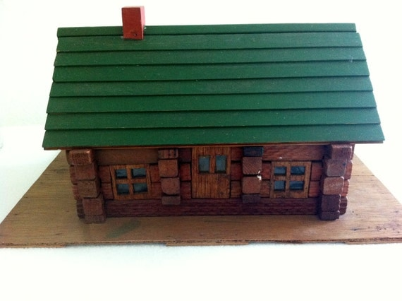 Vintage Lincoln Log Cabin, Toys,  Rustic Decor , Cottage Chic Woodland