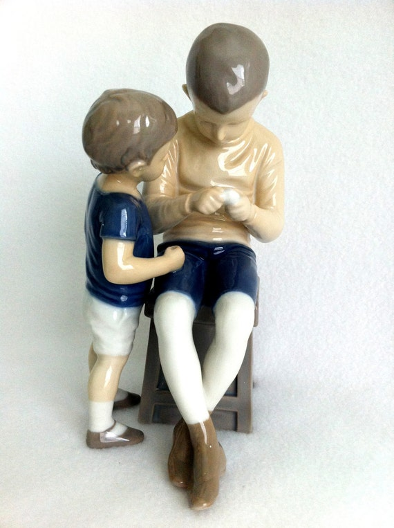 Antique Bing  Grondahl Figurine, B & G Vintage TOM and WILLY No. 1648 ,  Blue, Tan, Brown Collectible