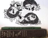 Handmade Hedgehogs Linocut Print