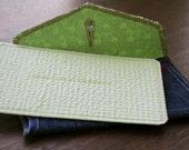 Original Denim Envelope & Card - Single Thank You Card (Pastel Green) - Handmade from Salvaged Fabric