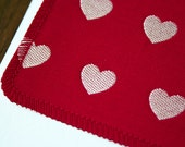 Red Hearts Anniversary/Wedding Card -  Handmade Greeting Cards from Salvaged Fabric