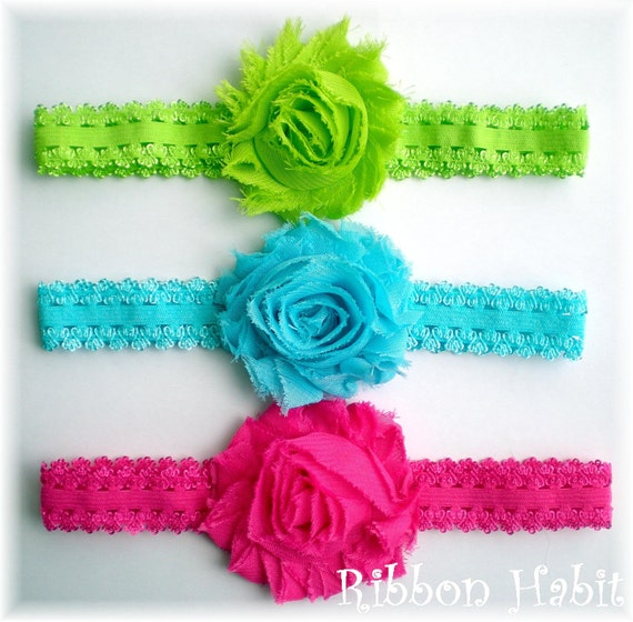 Shabby Chiffon Flower Headbands for baby girls, Toddlers Set of 3 Girly Summer Brights Green, Hot Pink, Aqua Lace Elastic Accessories Infant