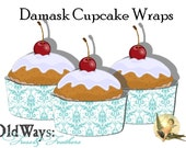 Tiffany Blue and White Damask CupCake Wrappers DIY Decorations - Printable Digital PDF File
