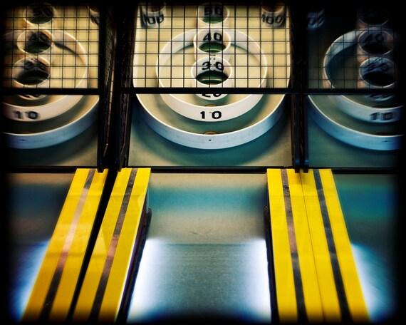 Skeeball Arcade Game Photography, Yellow and Black, Retro Style Decor, Game Room Art, Fun Boardwalk Gameroom Art Print - Skeeball Print