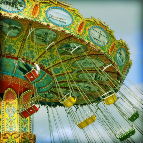 Carnival Photography, Carnival Ride, Boardwalk Photography, Carnival Nursery Art, Santa Cruz Boardwalk - Sky High