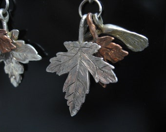 Maple Leaf Earrings in Red and Yellow Bronze and Silver