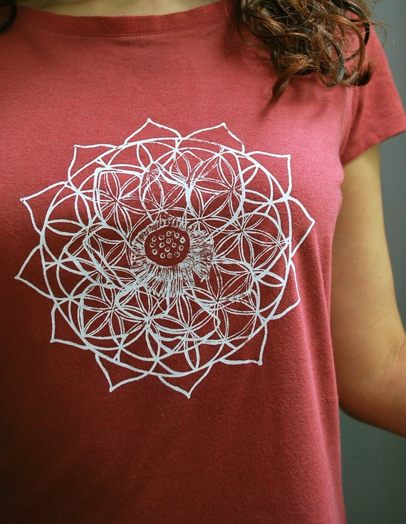Flower of Life Heart Chakra Bamboo & Organic Cotton tee with Heart Chakra design - Womens Large