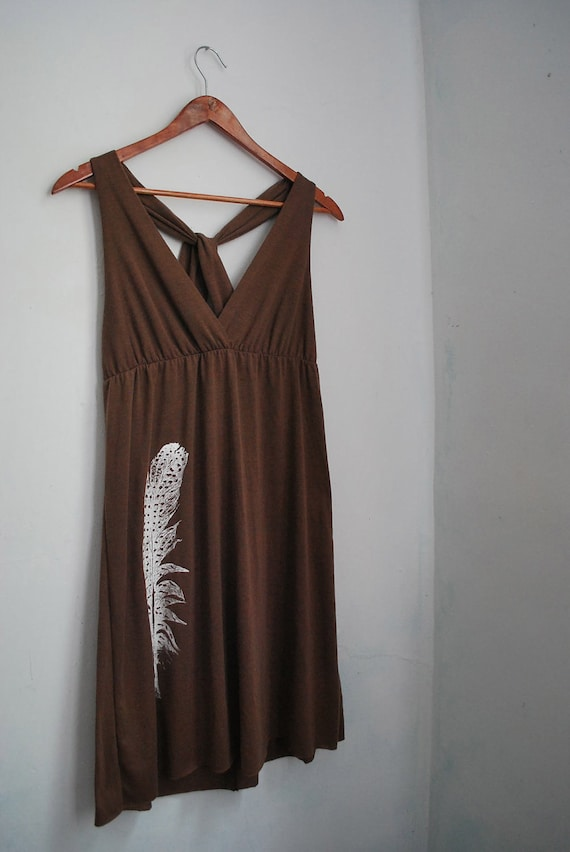 upcycled dress -  one-of-a-kind summer dress with feather screenprint