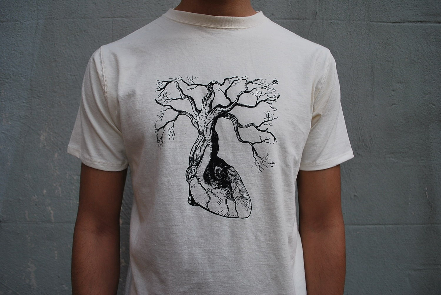 Organic cotton t shirt screen printed with by thelotusroot for Organic cotton t shirt printing
