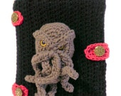 Cthulhu Book Cover, Black Crocheted Notebook Cover, Cthulhu Head Portrait