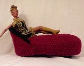 1:6 Furniture,  Red chaise lounge trimmed in black (Barbie) doll scale in crochet and plastic canvas - doll not included