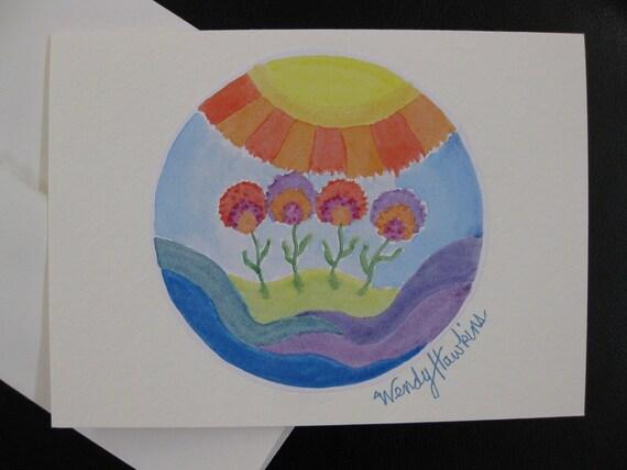 Sunshine Flowers Mandala Blank Note Card